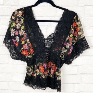 Forever 21 (XX1) Colorful Floral Lace Top Size S